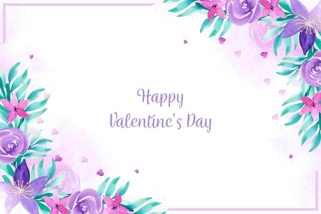 Carta da parati di san valentino con fiori ad acquerelli
