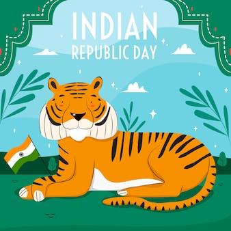 Carta da parati disegnata a mano di giorno della repubblica indiana