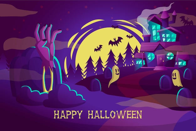 Carta da parati disegnata a mano di halloween
