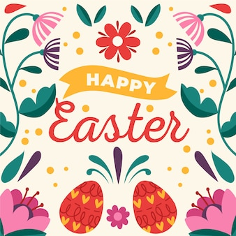 Carta da parati disegnata a mano felice dell'uovo di giorno di pasqua