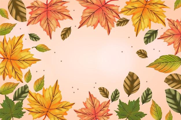 Carta da parati disegnata con foglie di autunno e spazio vuoto