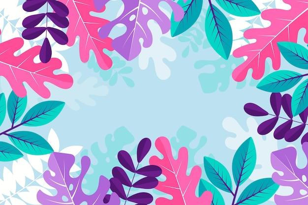Carta da parati estiva colorata con foglie