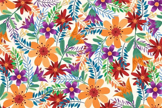 Carta da parati floreale esotica colorata