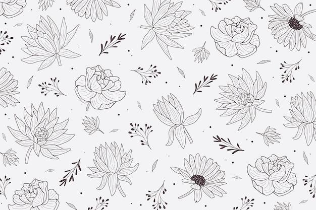 Carta da parati floreale in bianco e nero