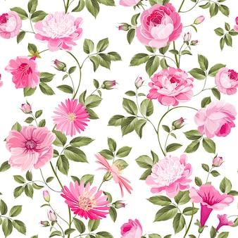 Carta da parati floreale senza giunte di rose.