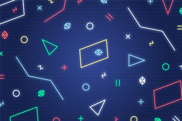Carta da parati geometrica con luci al neon