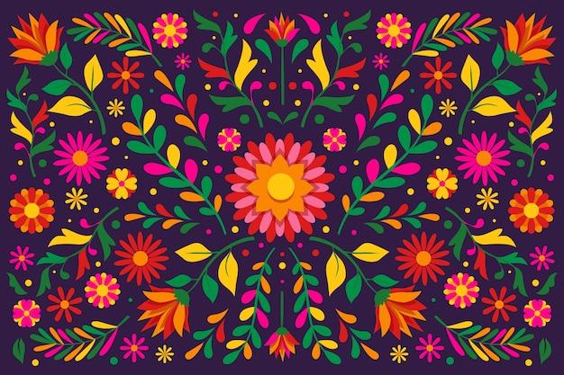Carta da parati messicana floreale colorata