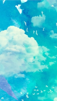 Carta da parati mobile con cielo ad acquerello