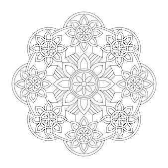 Carta da parati ornamentale di disegno del fondo della pagina del libro da colorare della mandala