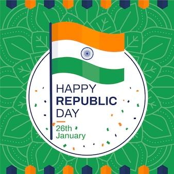 Carta da parati piatta per la festa della repubblica indiana