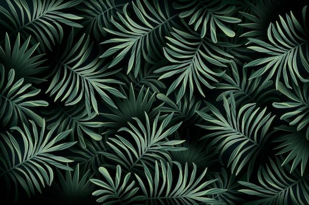 Carta da parati realistica con foglie tropicali