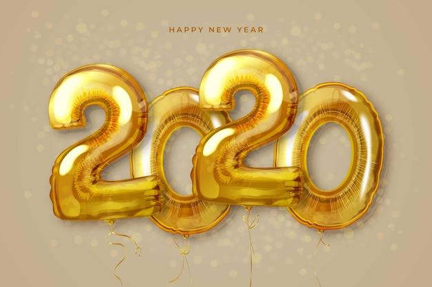 Carta da parati realistica dei palloncini del nuovo anno 2020