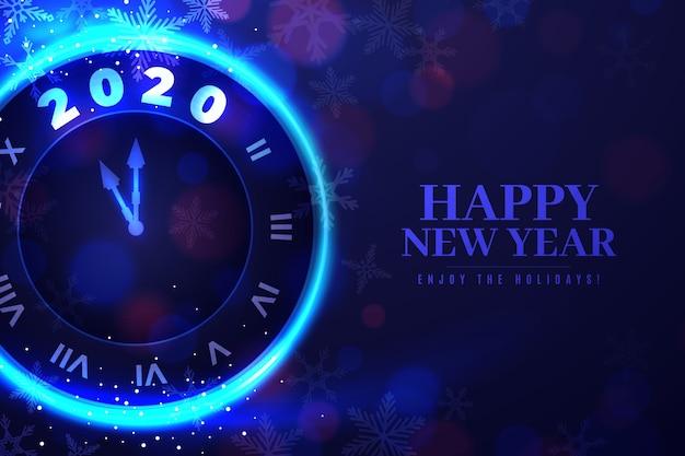 Carta da parati realistica dell'orologio del nuovo anno 2020