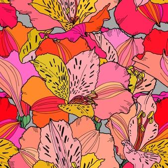 Carta da parati ripetibile dei fiori di multi colore luminoso disegnato a mano senza cuciture di alstroemeria del modello.