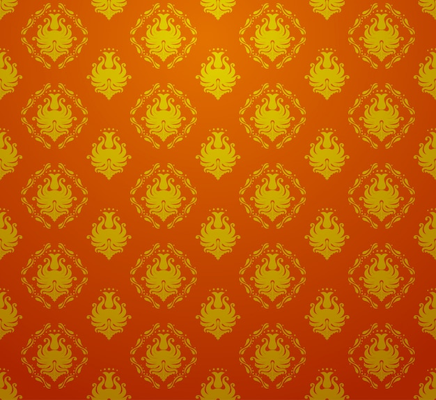 Carta da parati senza cuciture barrocco vettoriale retrò vintage senza cuciture nel colore rosso e dorato