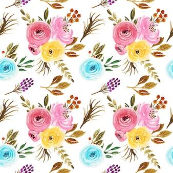 Carta da parati senza cuciture d'annata del bello modello dei fiori dell'acquerello