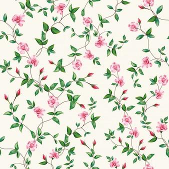 Carta da parati senza cuciture del ramo della rosa del fiore del modello