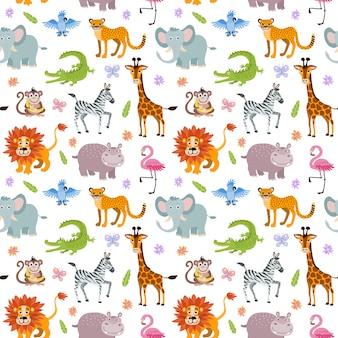 Carta da parati senza cuciture per bambini con simpatici e divertenti animali della savana