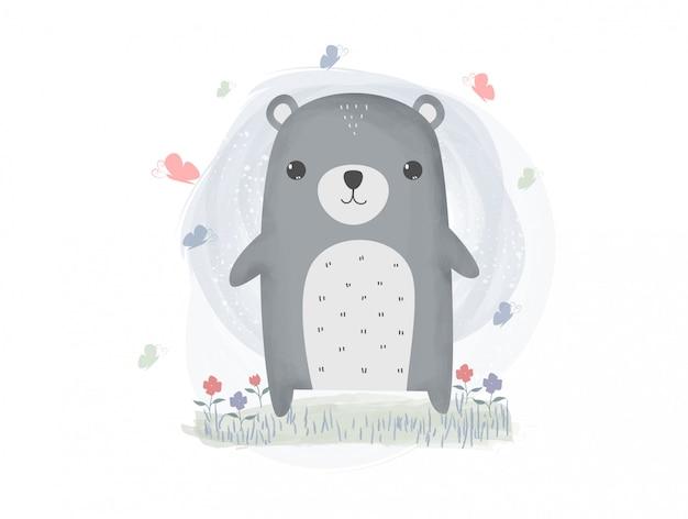 Carta da parati sveglia del fumetto dell'acquerello pastello dell'orsacchiotto e della farfalla