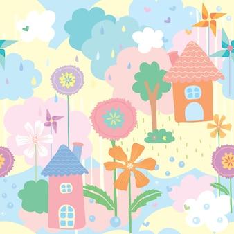 Carta da parati sveglia del modello senza cuciture della casa, del fiore e dell'albero decorati con la girandola su sfondo naturale nei colori pastelli.