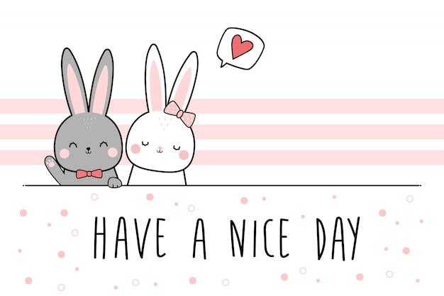 Carta da parati sveglia di scarabocchio del fumetto di saluto delle coppie dell'amante del coniglietto sveglio