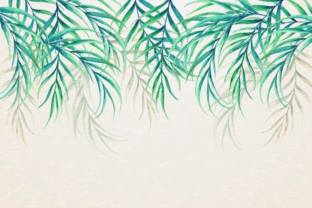 Carta da parati tropicale con foglie capovolte