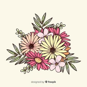 Carta da parati vintage con bouquet floreale