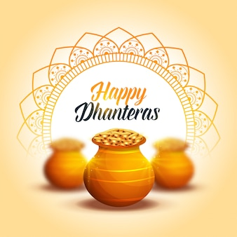 Carta decorativa adorabile di dhanteras felice