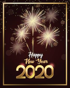 Carta del buon anno 2020 con numeri e fuochi d'artificio