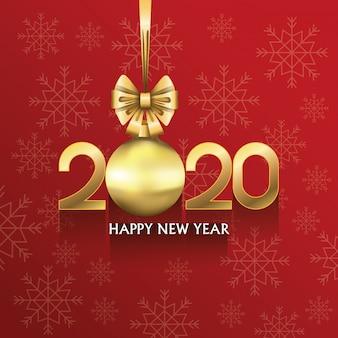 Carta del buon anno 2020 con numero e sfera appesa