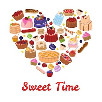 Carta del cuore dell'iscrizione e della pasticceria di sweet time
