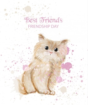 Carta del giorno dell'acquerello kitty friendship