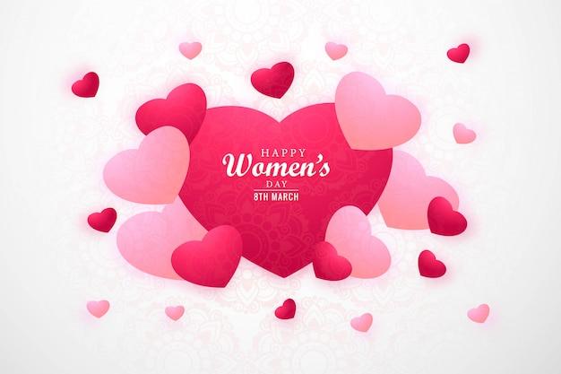 Carta del giorno delle donne felici con i cuori