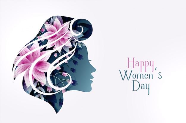 Carta del giorno delle donne felici con la faccia di fiore femminile