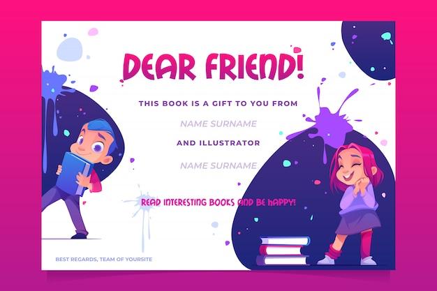 Carta del libro regalo