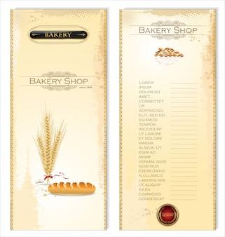 Carta del menu del negozio di panetteria