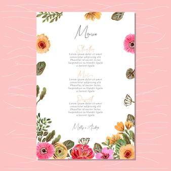 Carta del menu di nozze con cornice di pittura floreale