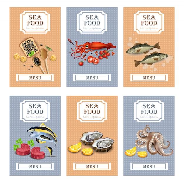 Carta del menu raccolta frutti di mare