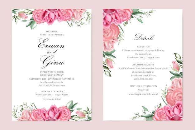 Carta del modello dell'invito di nozze con l'acquerello floreale e le foglie