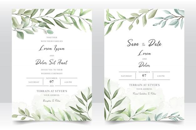 Carta del modello dell'invito di nozze dell'acquerello
