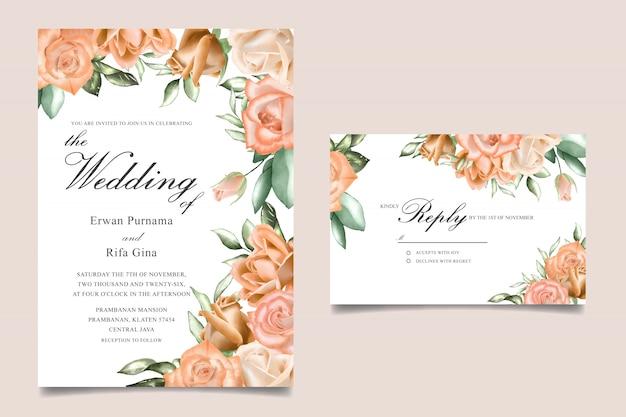 Carta del modello dell'invito di nozze floreale dell'acquerello