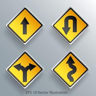 Carta del segnale stradale di direzione 3d