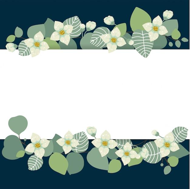 Carta delicata con fiori e foglie di eucalipto