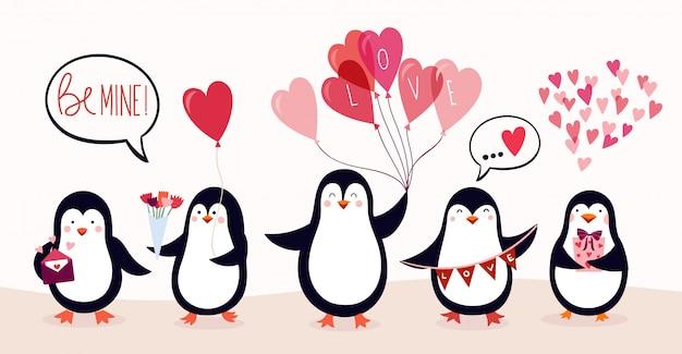 Carta dell'insegna del manifesto di san valentino con i pinguini