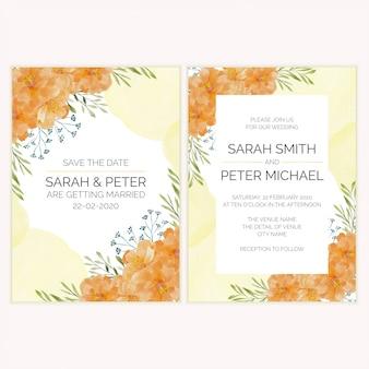 Carta dell'invito di nozze con l'illustrazione dell'acquerello del fiore dell'oro