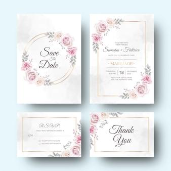 Carta dell'invito di nozze con la decorazione del fiore e delle foglie dell'acquerello