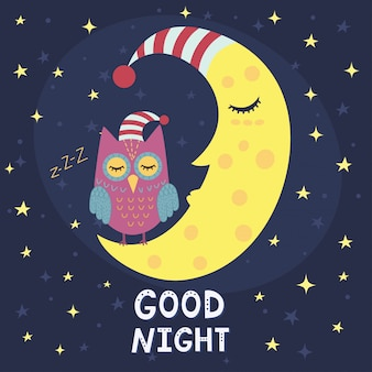 Carta della buona notte con luna dormiente e simpatico gufo.