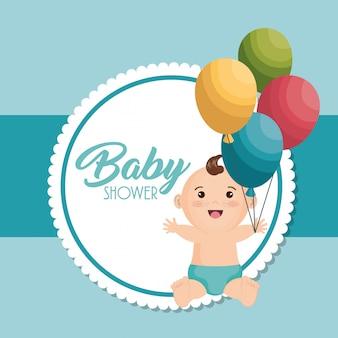 Carta della doccia di bambino con il ragazzino