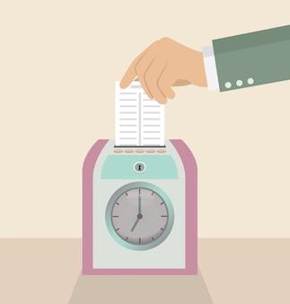 Carta della tenuta della mano dell'uomo d'affari sul registratore dell'orologio marcatempo.