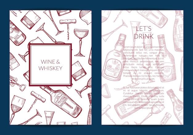 Carta delle bottiglie e dei vetri della bevanda dell'alcool disegnato a mano di vettore